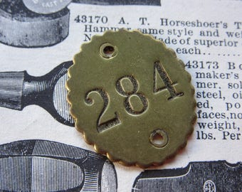Number Tag Vintage Original Number 284 Tag #284 Antique Brass Metal Scalloped Edge Tag Jewelry Pendant Address Door Apartment Number 1900's
