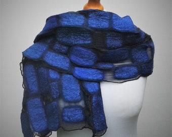 Blue nuno felt scarf with pure silk chiffon.