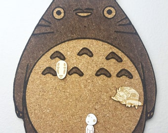 Totoro Cork Board | Enamel Pin Display | Laser Cut Cork Board | Handmade Decor