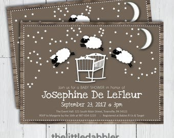 Printable Counting Sheep Baby Shower Invitation -- Country Little Lamb Cradle Bassinet Baa Baa Black Sheep Nursery Rhyme Invitation