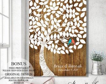 Rustic Wedding Tree Wedding Guest Book Alternative, Custom Guest Book Wedding Gift Wedding Keepsake, Personalized Gift Bridal Shower Gift