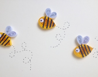 Quilled bees card, insect card, busy bees card, quilled art