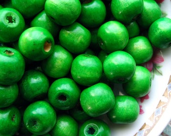 12mm Green Wooden Beads - Over 100 - 12mm Bright Green Wood Beads, 12mm Green Macrame Beads, Large Green Beads, Lead Free (WBD0072)