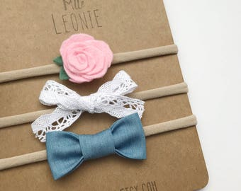 Trio flower and loops on headband - baby girl and boy - sweet pink flower, white eyelet lace, light denim