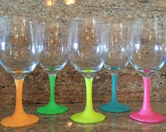 Glitter Wine Glasses Set of 5- Bridal Party- Birthday- Mothers Day - Girls Night -