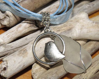 Frosted glass and silver bird charm necklace