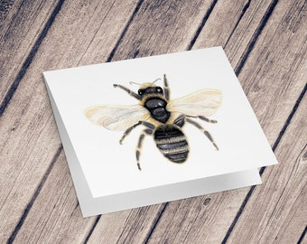 Wish card: Illustration reproduction painted with watercolor, Honey Bee