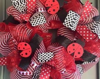 Spring, Ladybug, Red and black Wreath