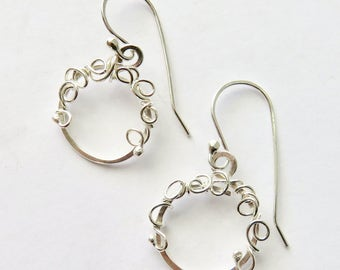 Tiny Silver Hoop Earrings - Small Silver Hoop Earrings - Antiqued Sterling Earrings - Hammered Hoops - Mother's Day Gift Idea