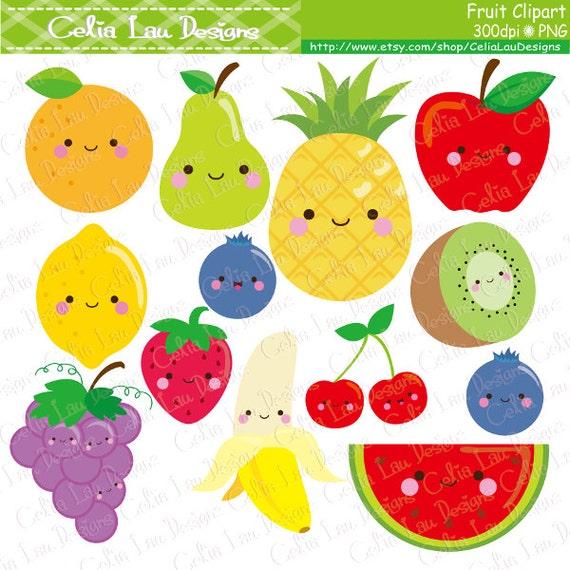 Kawaii Fruit Clipart, Cute Fruit Clip Art , Food clipart ...