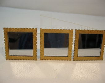 Dolls house 1/12th scale set of three mirrors in sets of three gold or three  blue