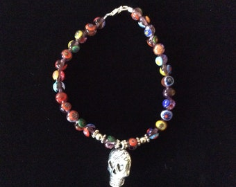 Venetian  Murano Mille Fiori Glass bead bracelet with sterling accents and pewter skull charm
