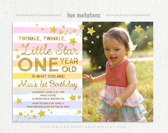 twinkle twinkle little star first birthday invitation with photo, rainbow 1st birthday invitation for girls, gold glitter stars stripes
