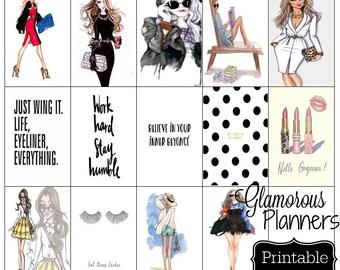 Regular Happy Planner Modern Fashionista Chic Planner Stickers ECLP Life Planner 20 Stickers Printable Happy Planner Print