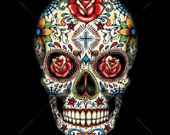 Sugar Skull With Red Roses In Eyes Day of the Dead Adult Unisex Short Sleeve T Shirt 16553