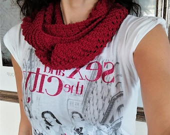 Cotton scarf, infinity scarf, red scarf, summer scarf, woman scarf, Mother's Day, lace scarf, cotton neck warmer, knitted scarf