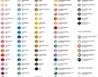 Swarovski pearl or crystal samples, pearl samples, crystal samples, colour swatch,  blue, cream, light creamrose, creamrose, clear ab