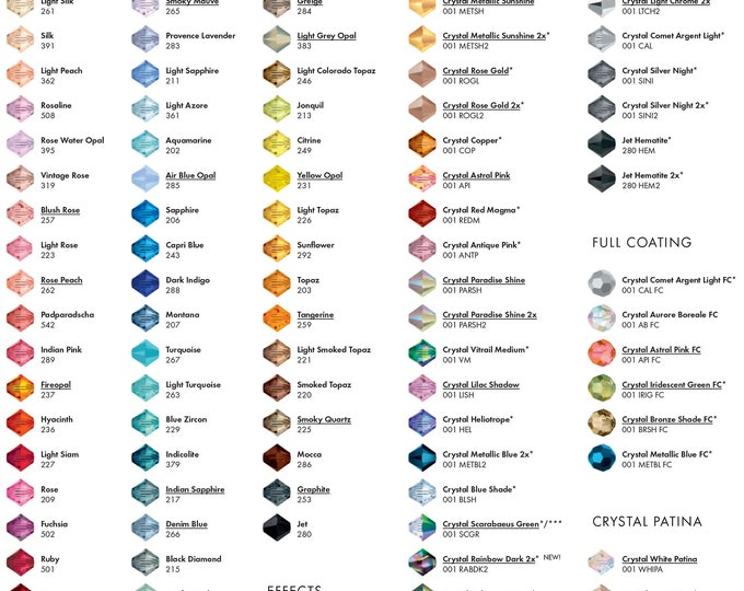 Swarovski pearl or crystal samples, pearl samples, crystal samples, colour swatch,  blue, cream, light creamrose, creamrose, clear ab