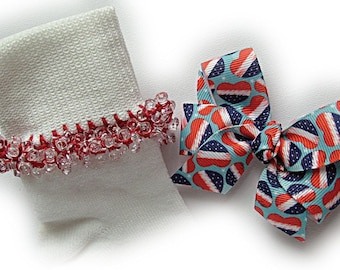 Kathy's Beaded Socks - American Love Socks and Hairbow, red socks, school socks, navy socks, blue socks, heart socks, patriotic socks