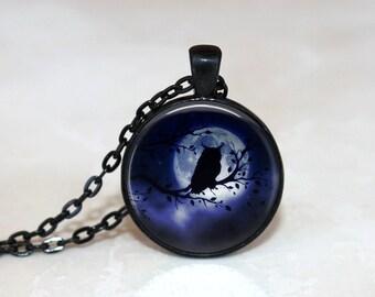 Glass Tile Necklace Owl Necklace Moon Necklace Moon Jewelry Glass Tile Jewelry Owl Jewelry Bird Jewelry Black Necklace Black Jewelry