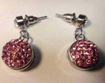 12mm Silver Snap post EARRINGS...Fits 12mm snaps...2 snaps incl. rhinestone
