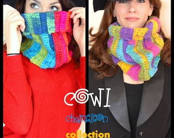 Stylish & Colorful Crochet Chunky Cowl Neck Warmer, one size, made to order