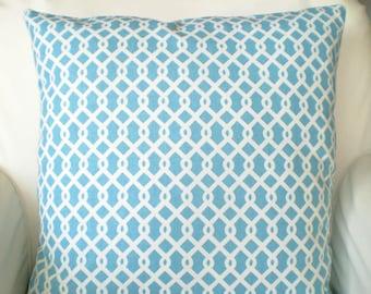Aqua Trellis Pillow, Decorative Throw Pillows, Cushion Covers, Aqua White Chain Link Turquoise - Pair of Two 16 x 16