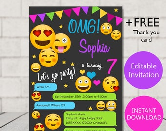 Emoji invitations etsy emoji invitation emoji birthday emoji party invitation emoji girl invitation emoji birthday invitation emoji invites stopboris Images