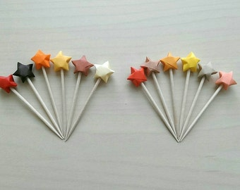 Autumn Origami Star Cupcake Toppers