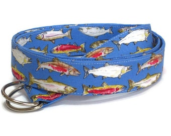Trout Belt /  Fish Belt for Mens and Teens / Fishermans D-ring Belt / Nautical Fabric Belt / Preppy Men's Belt - Trout on blue