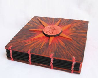 Little square notebook, one of a kind, crafty book, fun gift under 30, red purple orange paper notebook, artists book, journal with pockets