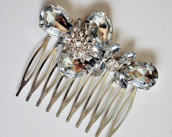 Old Hollywood inspired Snowflake Clear Rhinestone Crystal Hair Comb