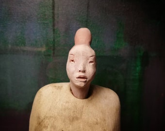Woman with Bun/ Ceramic Colorful Unique Standing Sculpture/ Female Figure