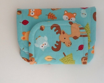 woodland animals children's fabric wallet / purse . blue forest creatures with blue lining . kids coin purse . kids wallet