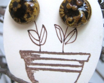 Sweet Little Natural Brown Button Earrings from Sweetpea Cottage