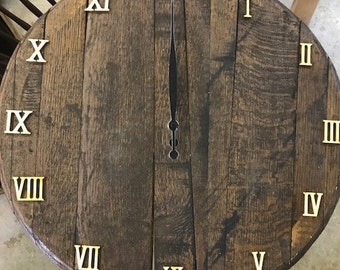 Bourbon Barrel Head Wall Clock