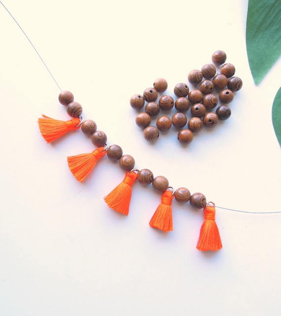 10 Orange mini tassels Small orange jewellery tassels  Tassels for yoga bracelets with gold jump ring 2 cm Jewellery tassels