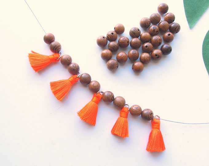 10 Orange mini tassels Small orange jewellery tassels  Tassels for yoga bracelets with gold jump ring 2 cm Jewellery tassels