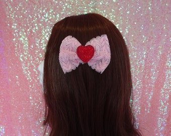Love Bug Party Kei Kawaii Heart Rhinestone Lace Hair Bow