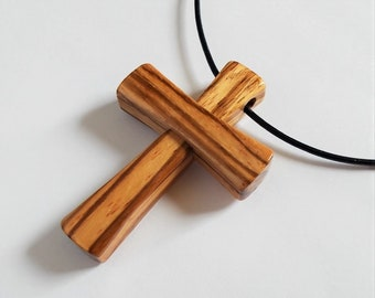 Cross Pendant in Zebrano Wood (Zebrawood) with Cord - Made to Order