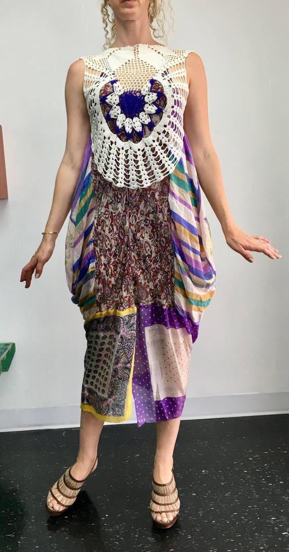 BOHO Shades of Purple Scarf Dress - one of a kind, wedding guest, handmade