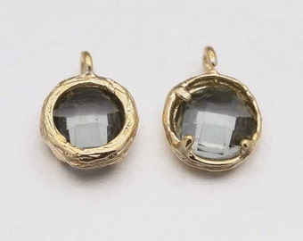 Glass Charm Glass Pendant Bezeled Glass Framed Glass Charm Bezeled Charm Black Glass Drop Real Gold Plated Faceted CLEARANCE was 3.28