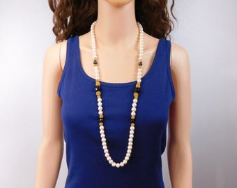 Long Pearl Necklace Black Gold Bead Accent Pearl Necklace Hidden Clasp Vintage Pearl Necklace Jewelry