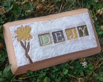 Custom - Pottery Pottery Garden Stone or Burial Grave Marker - Stoneware Clay - For Pet Memorial -  Beveled Rectangle Plaque - DAISY
