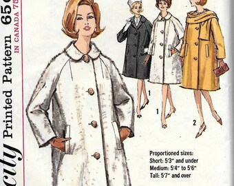 Vintage 1960s Simplicity 5148 Sewing Pattern Misses Collar Welt Coat & Scarf Size 14 Bust 34