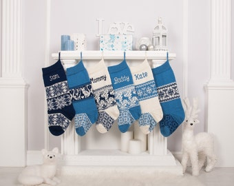 Personalized Christmas Stockings, White Blue, Knitted Christmas Stockings with handmade embroidery, Christmas decor, Monogrammed Stockings