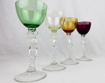 Vintage Cambridge Nude Stems, Choice of One, Crystal Wine Glass, 3011, Forest Green, Gold Krystol, Amber, Amethyst