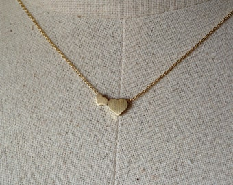 Double Gold Heart Necklace, 14k Gold plated, Dainty Necklace