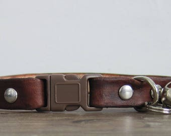Purrfect Leather Cat Collar - Brown - Breakaway Safety Leather Cat Collar