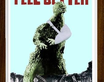 Feel Better, Kaiju, Feel Better Card, Monster Art, Get Well, Monsters, Get Well Soon, Sling, Funny Get Well Card